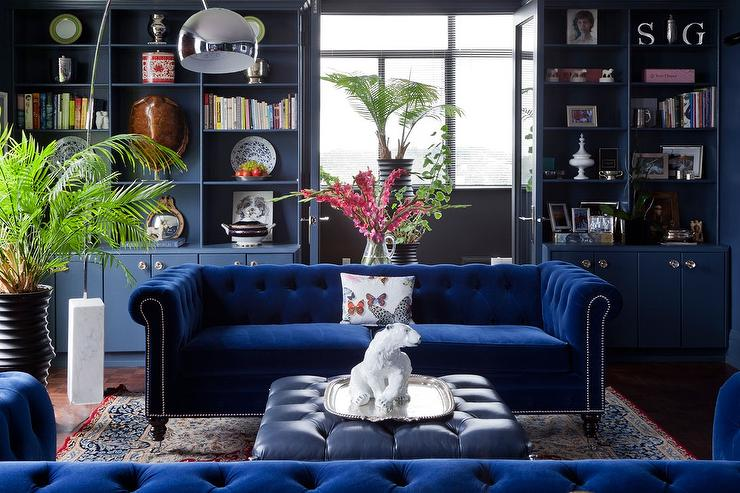 sapphire blue velvet tufted sofa with blue leather tufted ottoman