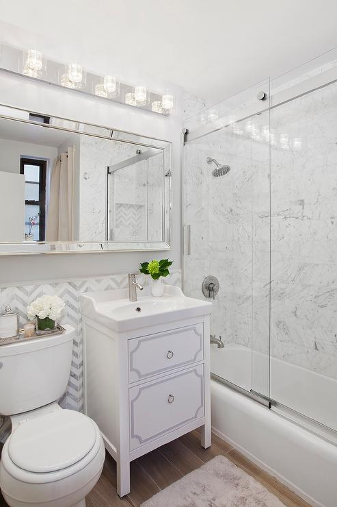 Long Beveled Bathroom Mirror Over Sink and Toilet - Transitional ...