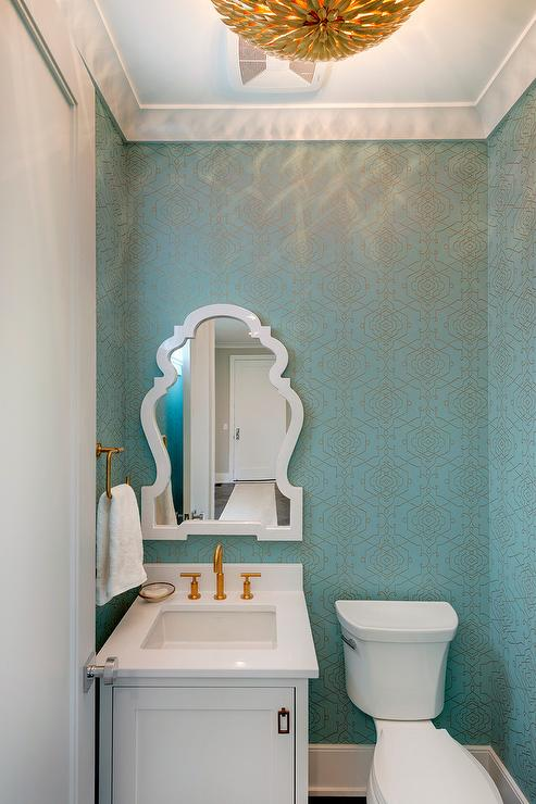 Turquoise Blue And Gold Powder Room With Crystorama Broche