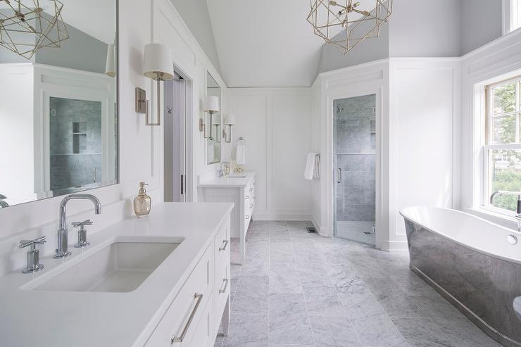 White And Gray Master Bathroom With Cast Iron Tub Corner Shower