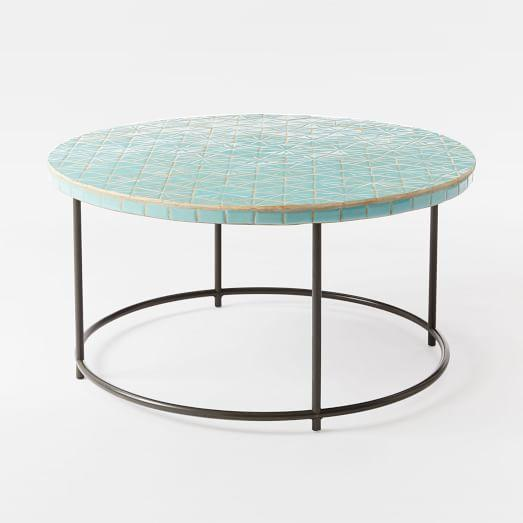 Blue Mosaic Round Coffee Table