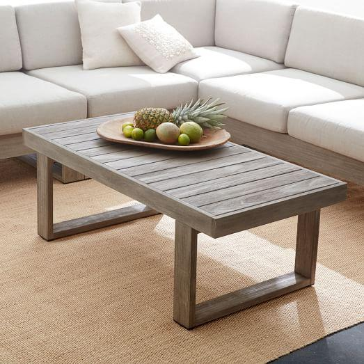 Portside Grey Finish Wooden Rectangular Coffee Table - Grey Wood Coffee Table - South Of Market