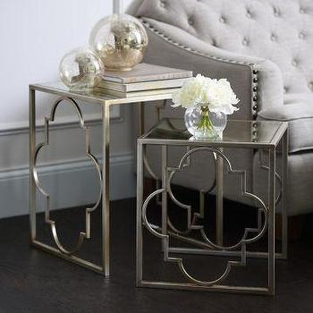 Two Set Silver Quatrefoil Base Mirrored Top Nesting Tables