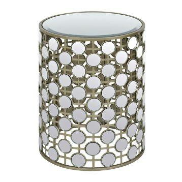 Round Mirrored Circles Side Table