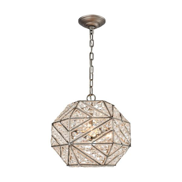 Elk Constructs 3 Light LED Crystals Silver Hexagonal Frame