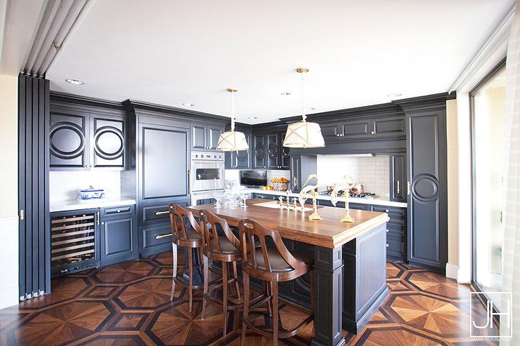Blue Kitchen Cabinets With Wood Countertops And Octagon Floor