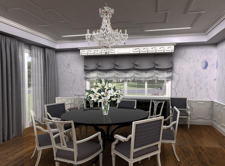 Gray Dining Room With Greek Key Wainscoting