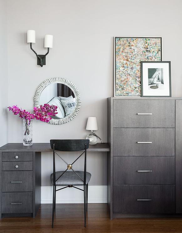 Gray Wash Vanity with Silver Sunburst Mirror  Contemporary Bedroom