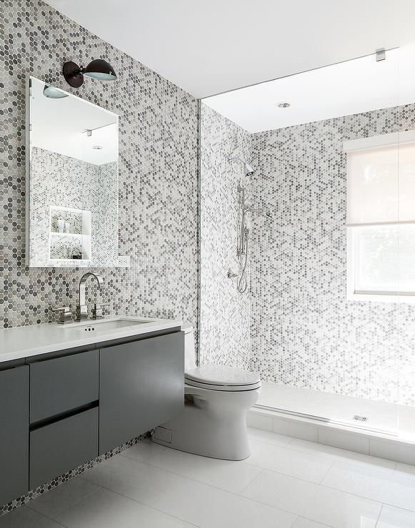 Gray Kids Bathroom with Gray Hex Tile Walls Contemporary Bathroom – Kids Bathroom Tile