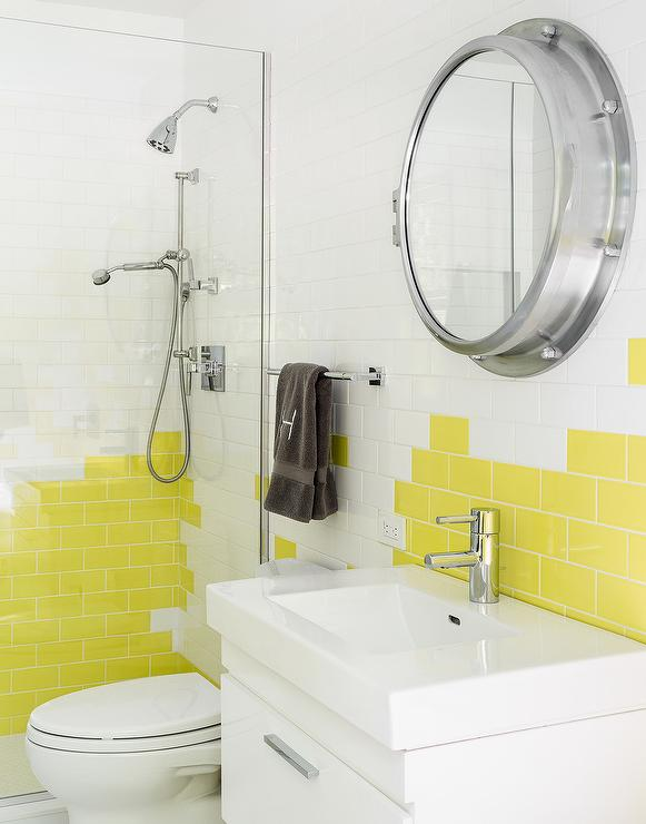 Bon White And Yellow Kids Bathroom With Yellow Subway Tiles