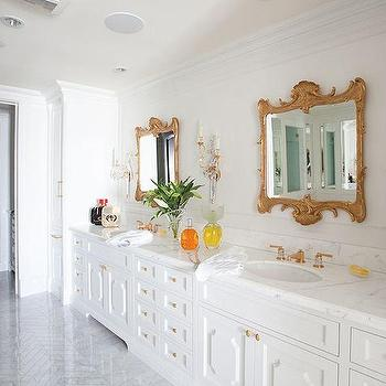 White And Gold Bathroom With Orante Mirrors