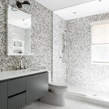 Gray Kids Bathroom With Gray Hex Tile Walls