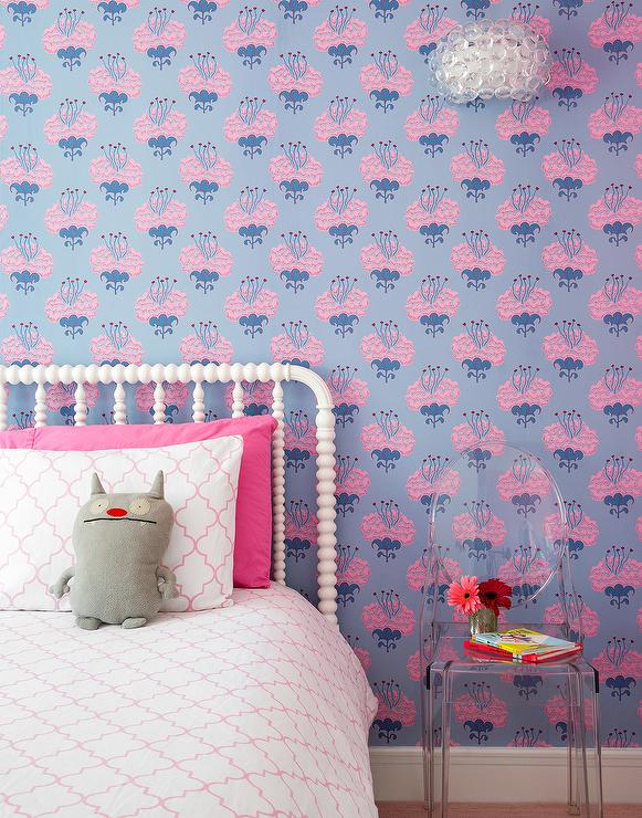 White And Pink Girl Bedroom With Blue Wallpaper