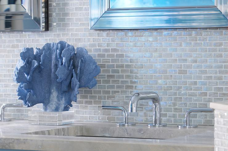 Blue Beach Themed Bathroom With Blue Iridescent Glass Tile Backsplash