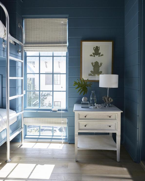 Light Blue Bunk Beds With Navy Blue Bunk Bed Ladders