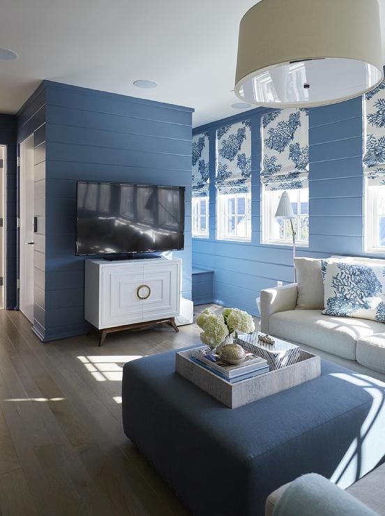 Gray Sofa Blue Walls