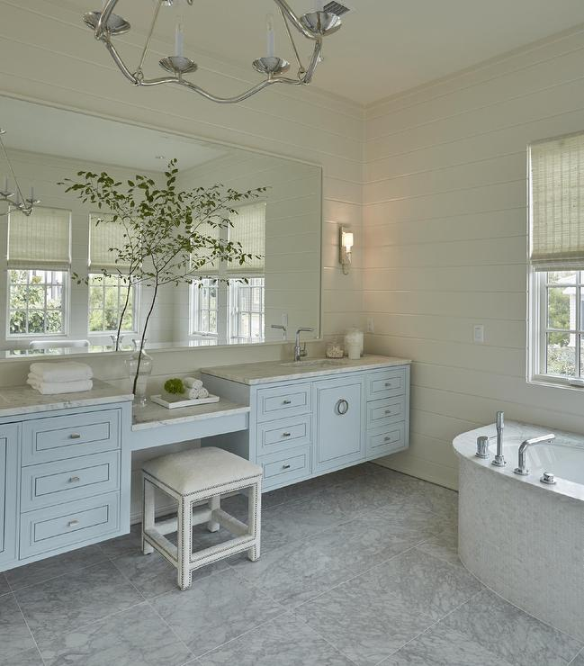 Blue Floating Washstands with Drop Down Makeup Vanity - Cottage ...