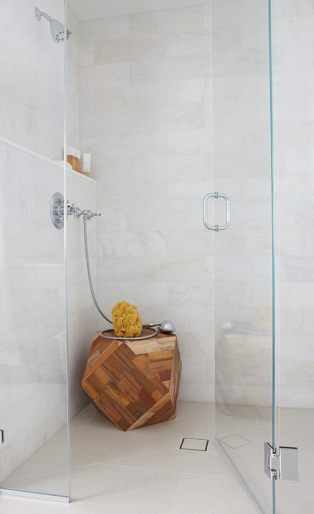 Built In Marble Shower Ledge with Teak Stool - Transitional - Bathroom