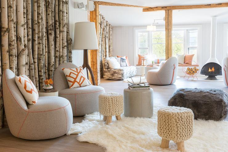 Modern Cabin Living Room with Gray Chairs and Orange Pillows ...