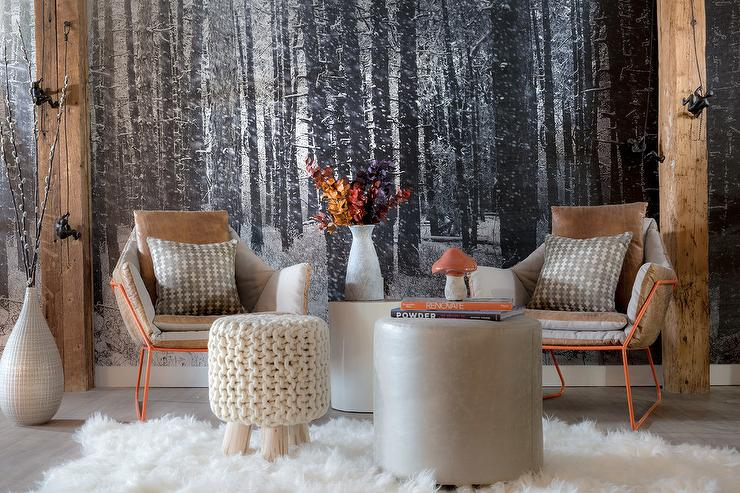 Silver and black trees wallpaper with orange chairs for Silver wallpaper living room