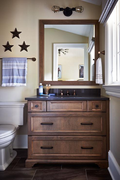 Country Cabin Boys Bathroom With Wall Stars Over Toilet