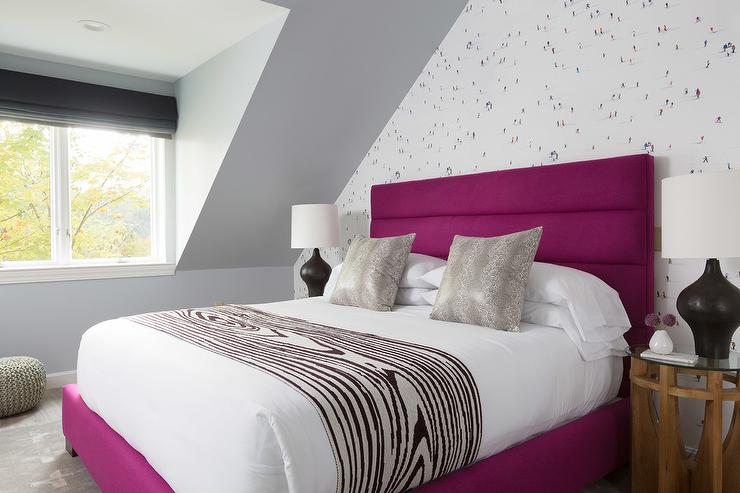 Fuschia Velvet Bed With Faux Bois Throw Blanket Contemporary Bedroom