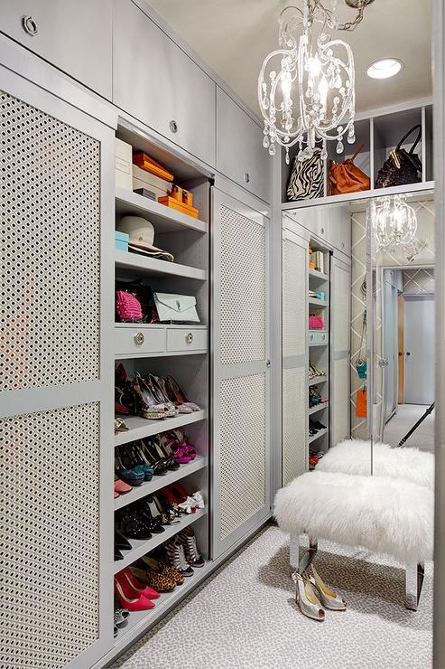 Gray Walk In Closet Cabinets With Metal Doors