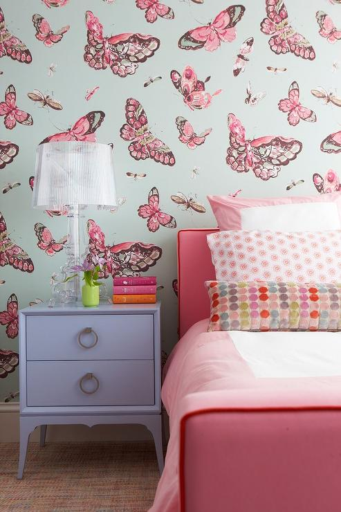 pink girl bedroom with pink butterfly wallpaper