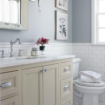 Blue Bathroom With Cream Washstand