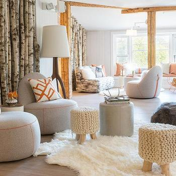 Amazing Rachel Reider Interiors · Modern Cabin Living Room With Gray Chairs And  Orange Pillows