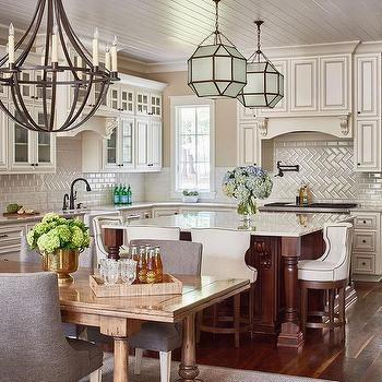 White Kitchen With Cherry Center Island Transitional
