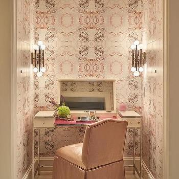 Graciela Rutkowski Interiors Cream Makeup Vanity With Flip Top Mirror And Pink Skirted Chair