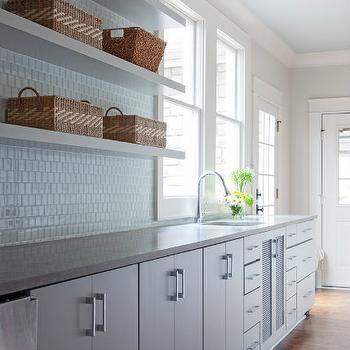 Gray Kitchen Cabinets With White Oak Wood Floors