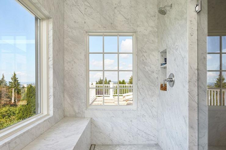 Marble Shower Stall with Picture Window - Transitional - Bathroom