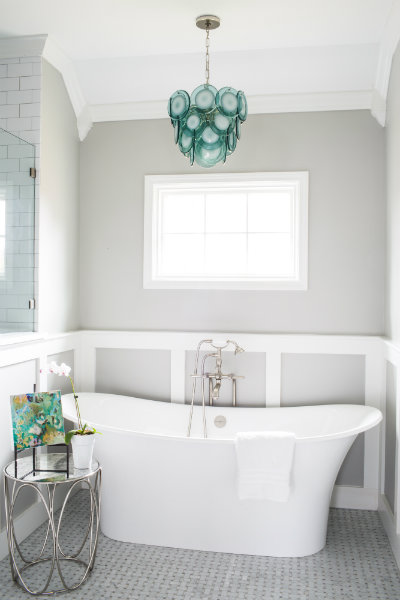 Aqua blue and gray bathroom with regina andrew mini diva for Bathroom decor regina