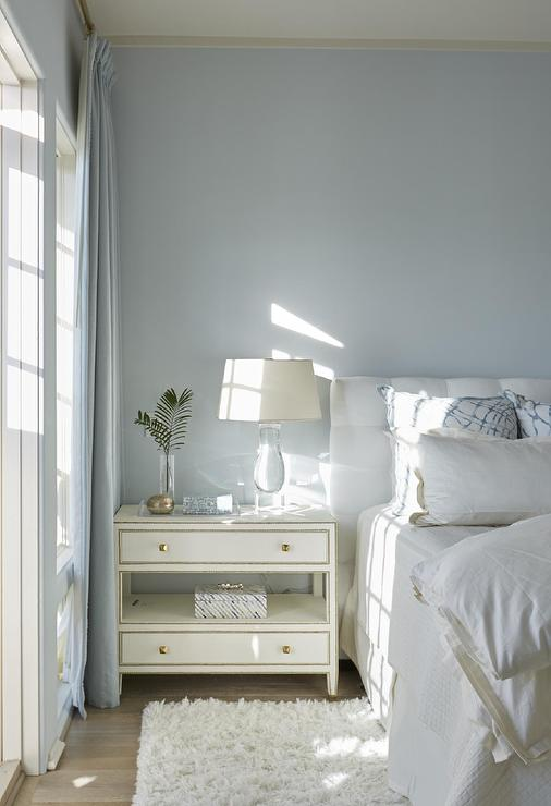 view full size  White and blue bedroom features walls painted sky blue  lined with a white. Blue Bedroom Walls Design Ideas