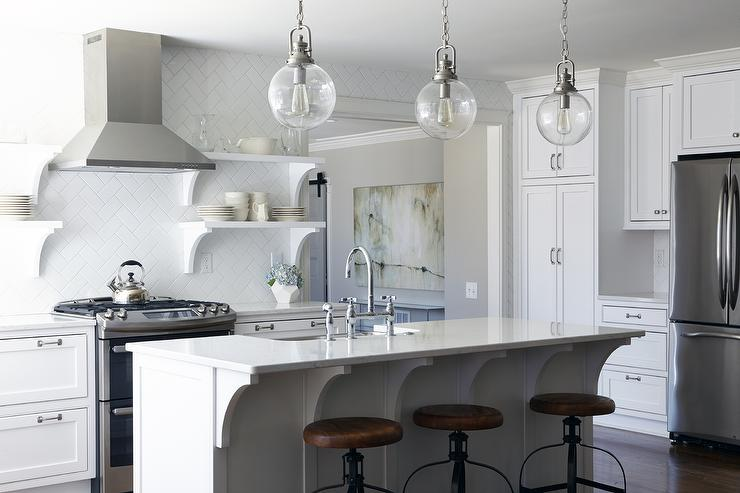 White Subway Tiles in Herringbone Pattern view full size - White Herringbone Pattern Kitchen Backsplash Tiles With Stacked