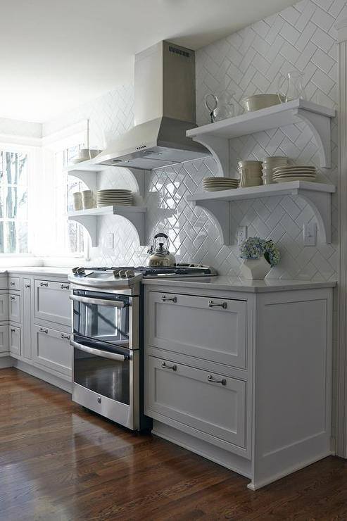 White Herringbone Pattern Kitchen Backsplash Tiles With Stacked Shelves