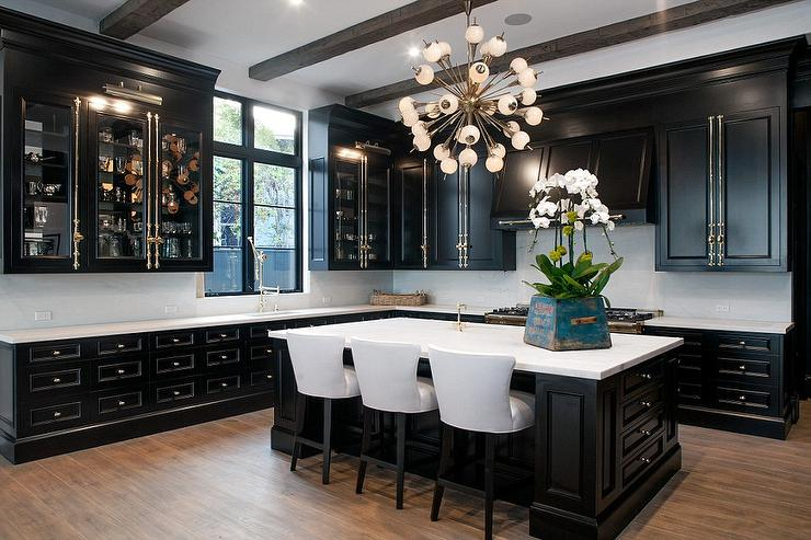 black kitchen cabinets with white marble countertops. Delighful Kitchen Black Kitchen Cabinets With Brass Cremone Bolts On With White Marble Countertops