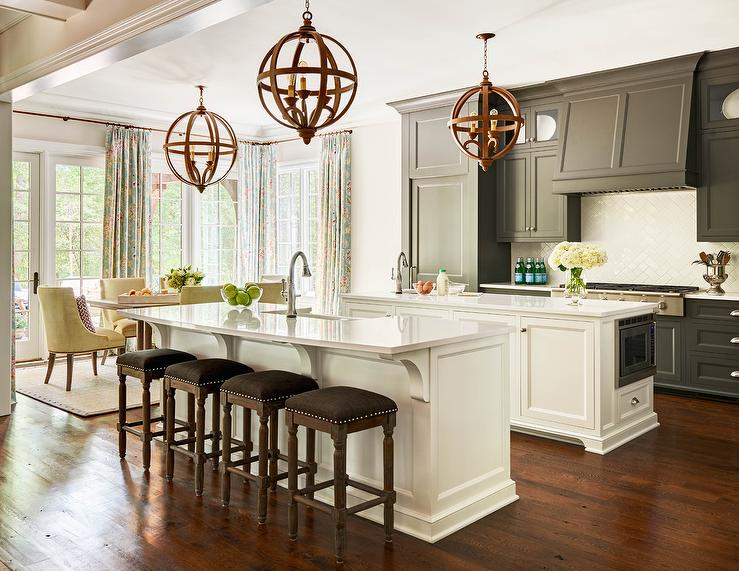 Black Cabinets with White kItchen Island Transitional Kitchen
