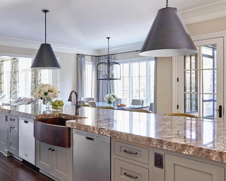 Marvelous Long Gray KItchen Island With Gold Countertops And Copper Apron Sink