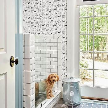 Black And White Mudroom With Best In Show Wallpaper And