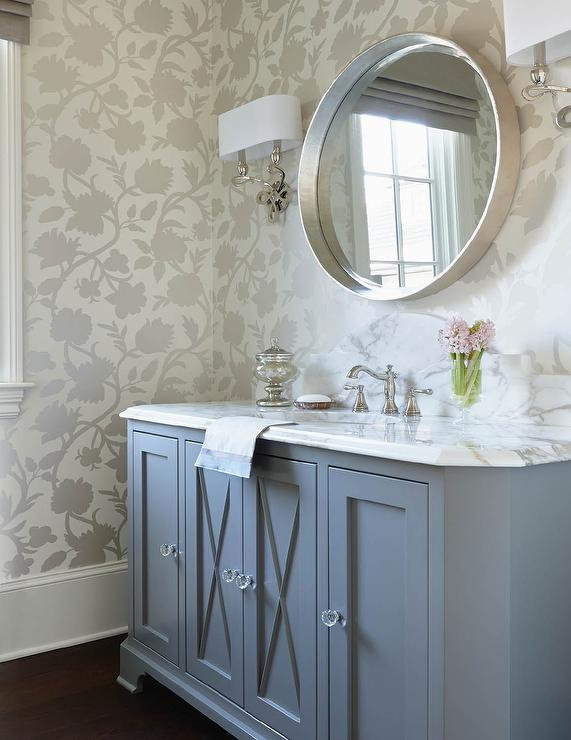 silver convex mirror with gray washstand fitted with x. Black Bedroom Furniture Sets. Home Design Ideas