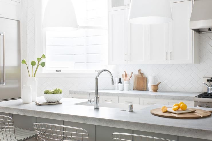 Backsplash Patterns white subway kitchen backsplash in herringbone pattern for