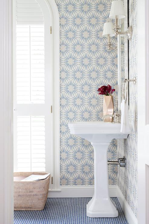 White and blue powder room with blue penny tile floor - Powder room wallpaper ideas ...