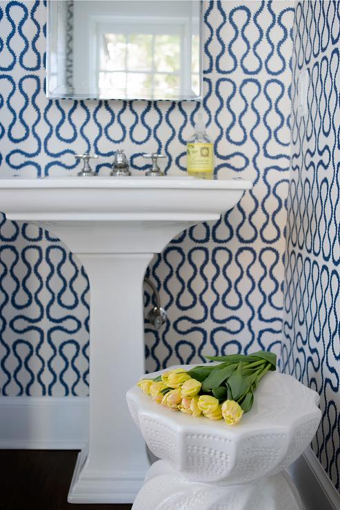 white and blue powder room wallpaper design ideas