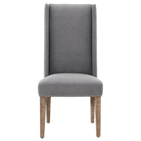 Grey Armless Wingback Dining Chair