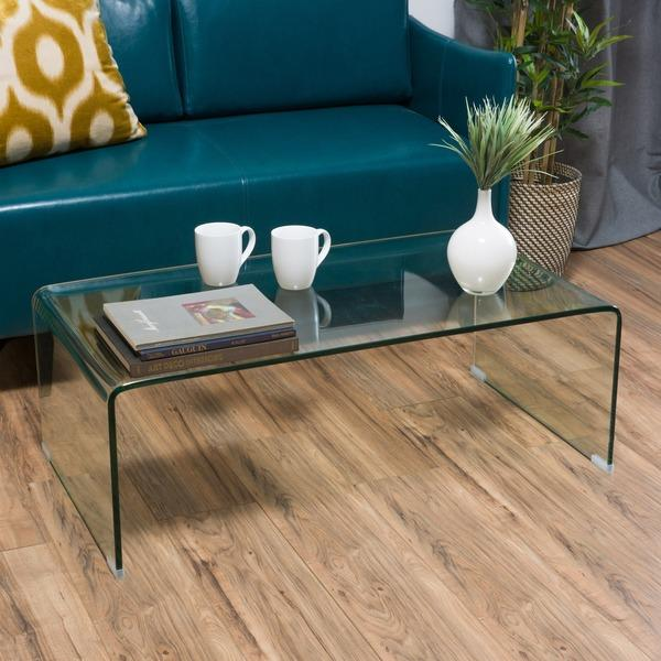 Glass Waterfall Rectangle Coffee Table