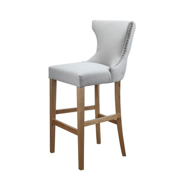 White Armless Tufted Back Barstool View Full Size