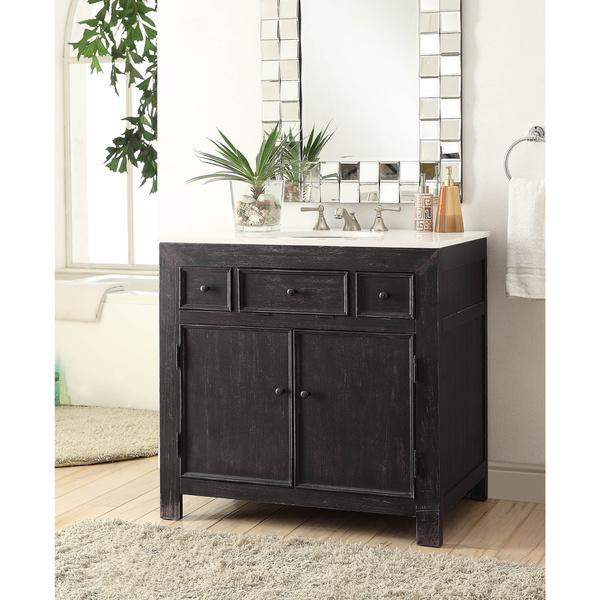 Black Narrow Leg Two Drawer Vanity